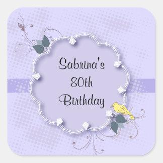 80.o texto de la fiesta de cumpleaños de la pegatina cuadrada