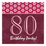 80.o V01 rojo y rosado del cumpleaños o de cualqui Invitación Personalizada
