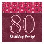80.o V04 rojo y rosado del cumpleaños o de cualqui Invitación