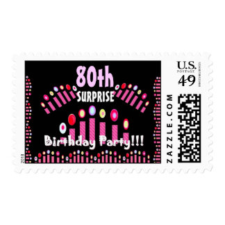80.o Velas del rosa del cumpleaños de la fiesta de Sellos Postales