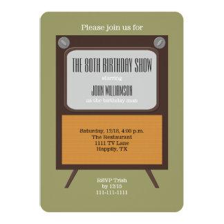 80.o Vintage TV de la invitación de la fiesta de Invitación 12,7 X 17,8 Cm