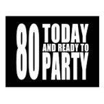 80.os cumpleaños divertidos: 80 hoy y aliste para postal