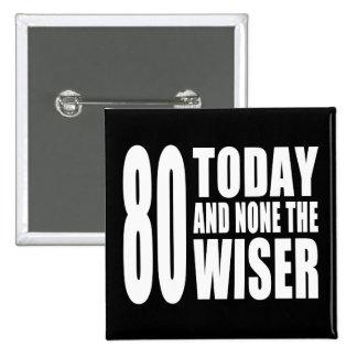 80.os cumpleaños divertidos: 80 hoy y ningunos el pin cuadrado