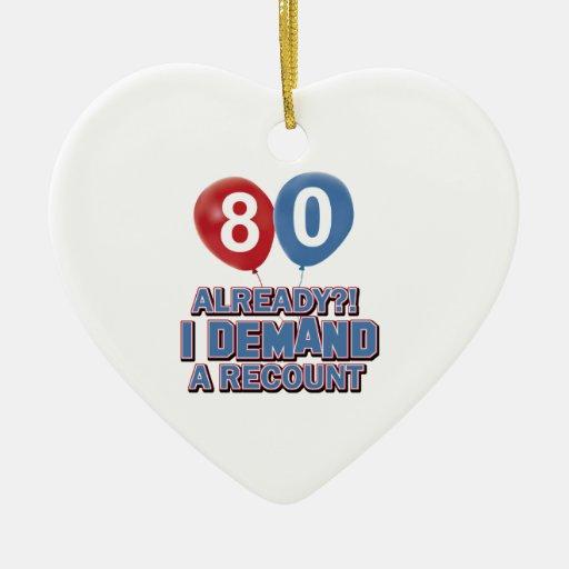 80.os diseños del cumpleaños adorno navideño de cerámica en forma de corazón