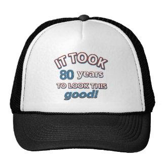 80.os diseños del cumpleaños del año gorros