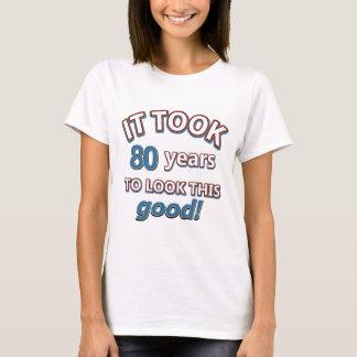 80.os diseños del cumpleaños del año playera