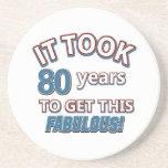 80.os diseños del cumpleaños del año posavasos personalizados