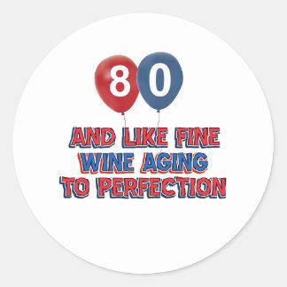 80.os diseños del cumpleaños pegatina redonda