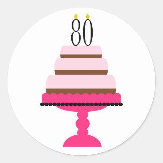 80.os pegatinas del cumpleaños de la torta con pegatina redonda