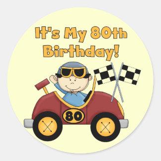 80 os pegatinas del cumpleaños del coche de carrer