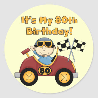 80.os pegatinas del cumpleaños del coche de pegatina redonda