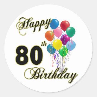 80.os regalos de cumpleaños y ropa felices del pegatinas redondas