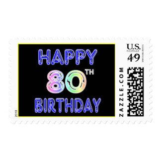 80.os regalos de cumpleaños y ropa felices del timbres postales