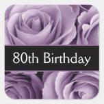 80.os rosas elegantes de la púrpura del cumpleaños colcomanias cuadradases