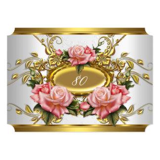 80.os rosas elegantes del oro del rosa de la invitación 12,7 x 17,8 cm