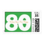 80.os sellos de la postal del cumpleaños - en verd