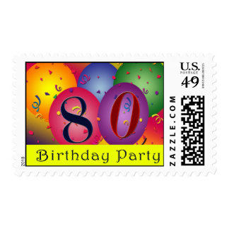 80.os sellos felices del globo del cumpleaños