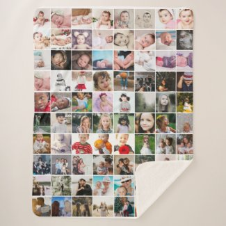80 Photo Collage Unique Personalized DIY Custom Sherpa Blanket