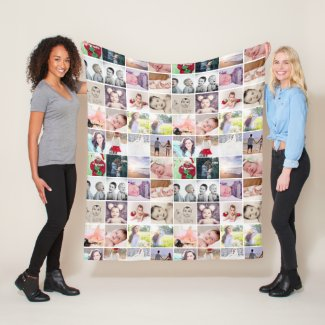 80 photos collage personalized (20 repeat) fleece blanket