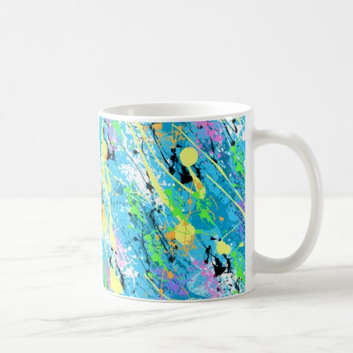 "80"" retro salpicadura de la pintura de s - azul taza de café"