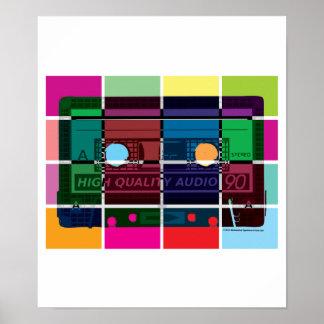 80 s Cassette Color Blocks Print
