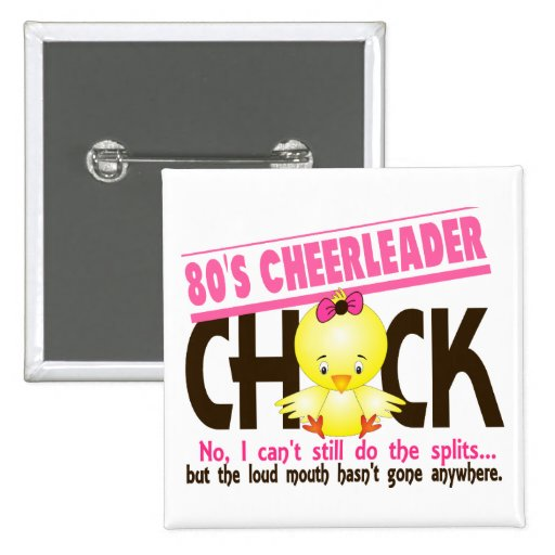 80's Cheerleader Chick 2 Inch Square Button