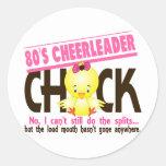 80's Cheerleader Chick Round Stickers