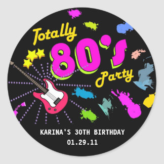 80 s Party Round Sticker Tags