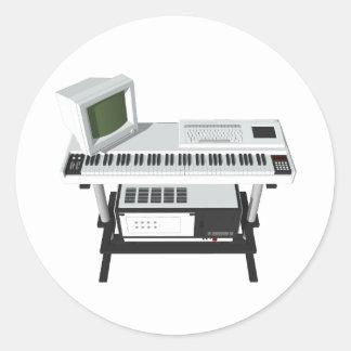 80 s Style Sampler Keyboard 3D Model Round Sticker