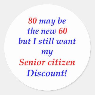 80 Senior Citizen Classic Round Sticker