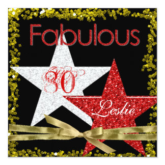 80 TH Birthday Invitation RED GLITTER STARS