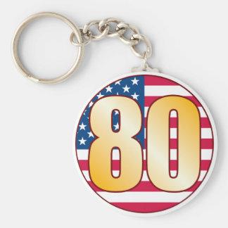 80 USA Gold Basic Round Button Keychain