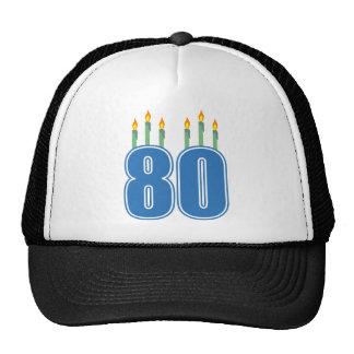 80 velas del cumpleaños (azul/verde) gorras