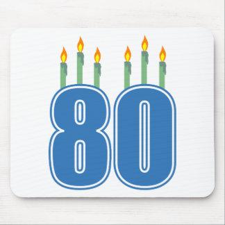 80 velas del cumpleaños azul verde tapetes de ratones