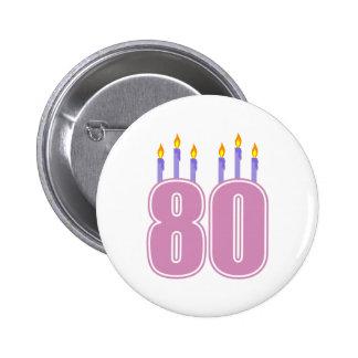 80 velas del cumpleaños (rosa/púrpura) pin redondo de 2 pulgadas