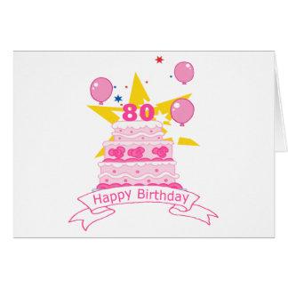80 Year Old Birthday Cake Card