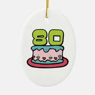 80 Year Old Birthday Cake Ceramic Ornament