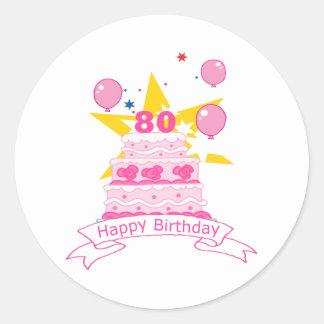 80 Year Old Birthday Cake Classic Round Sticker