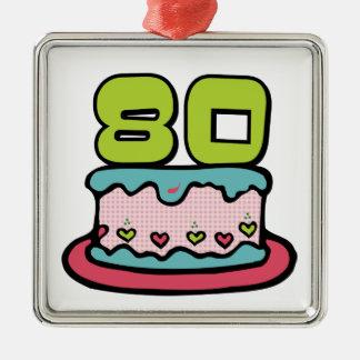 80 Year Old Birthday Cake Metal Ornament