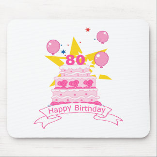 80 Year Old Birthday Cake Mouse Pads