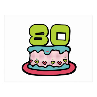 80 Year Old Birthday Cake Postcard