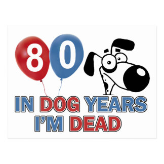 80 year old Dog years designs Post Card