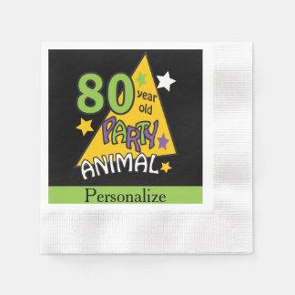 80 Year Old Party Animal Birthday Theme Napkin