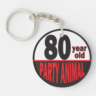 80 Year Old Party Animal Keychain