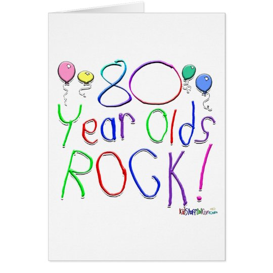 80 Year Olds Rock! Greeting Card