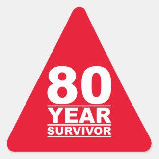 80 year survivor triangle sticker