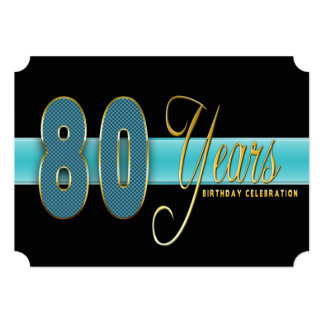 80 YEARS BIRTHDAY PARTY INVITATION AQUA/BLACK