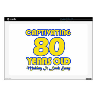 """80 YEARS OLD BIRTHDAY DESIGNS 17"""" LAPTOP DECAL"""