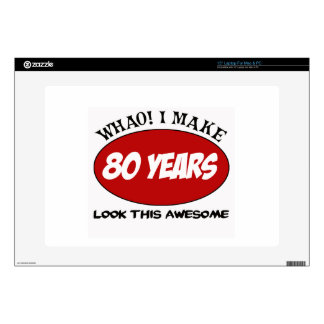 """80 YEARS OLD BIRTHDAY DESIGNS DECALS FOR 15"""" LAPTOPS"""