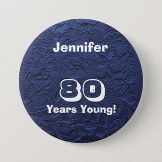 80 Years Young Dark Blue Dolls Pin Birthday Gift
